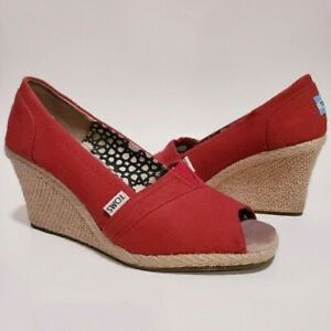 TOMS | Red Espadrille Peep Toe Wedges
